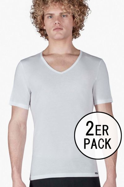 V-Shirt im Doppelpack - SHIRT COLLECTION Skiny men